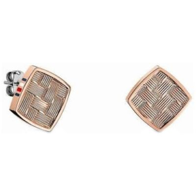 Ladies Tommy Hilfiger Rose Gold Plated Classic Signature Stud Earrings 2700995