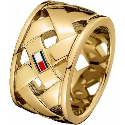 Ladies Tommy Hilfiger Gold Plated Classic Signature Ring Size N.5 2701024C