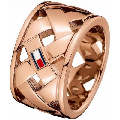 Ladies Tommy Hilfiger Rose Gold Plated Classic Signature Ring Size P 2701025D