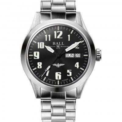 Mens Ball Engineer III Silver Star Naval Aviator Automatic Watch NM2182C-S2J-BK