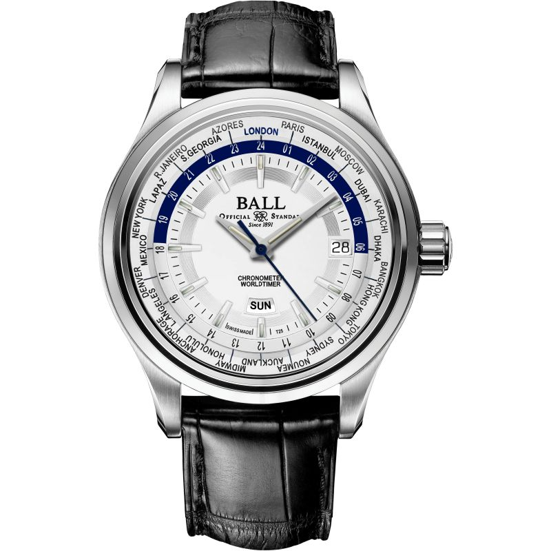 Mens Ball Trainmaster Worldtime Watch