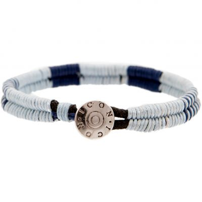 Mens Icon Brand Base metal Cord Bracelet LE1217-BR-BLU