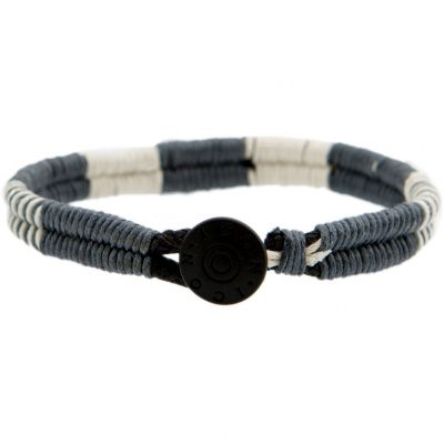 Mens Icon Brand Base metal Cord Bracelet LE1217-BR-GRY