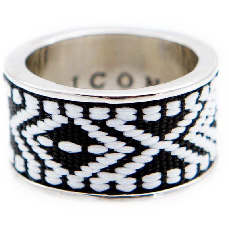 Mens Icon Brand Base metal Band Ring P1245-R-SIL-MED