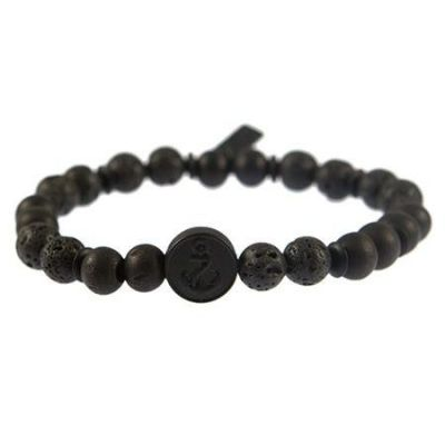 Mens Icon Brand Base metal Merchant Anchor Bead Bracelet B1197-BR-BLK