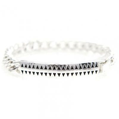 Mens Icon Brand Silver Plated Hound Tooth Id Bracelet P1208-BR-SIL