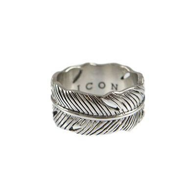 Mens Icon Brand Silver Plated Size Large Plume Ring P1441-R-SIL-LGE