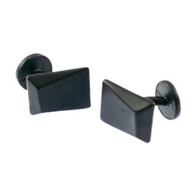 Mens Icon Brand Base metal Faceted Cufflinks Formal P1359-CLK-BLK