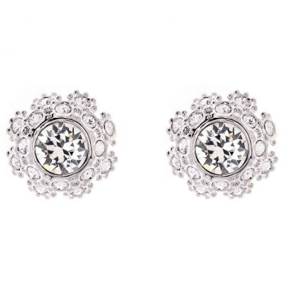 Ladies Ted Baker Silver Plated Seraa Crystal Daisy Lace Stud Earring TBJ1584-01-02