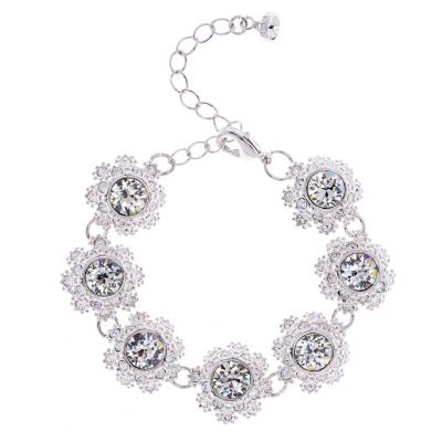 Ladies Ted Baker Silver Plated Seah Crystal Daisy Lace Bracelet TBJ1581-01-02