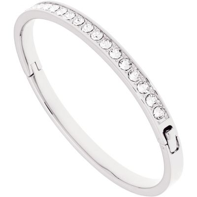 Ladies Ted Baker Silver Plated Clemara Hinge Crystal Bangle TBJ1567-01-02