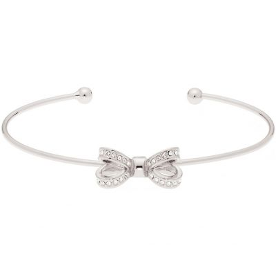 Ladies Ted Baker Silver Plated Olexii Mini Opulent Pave Bow Bangle TBJ1565-01-02