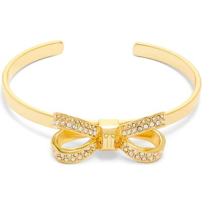 Ted Baker Dames Olexaa Opulent Pave Bow Bangle Verguld goud TBJ1564-02-02