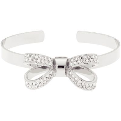 Ladies Ted Baker Silver Plated Olexaa Opulent Pave Bow Bangle TBJ1564-01-02