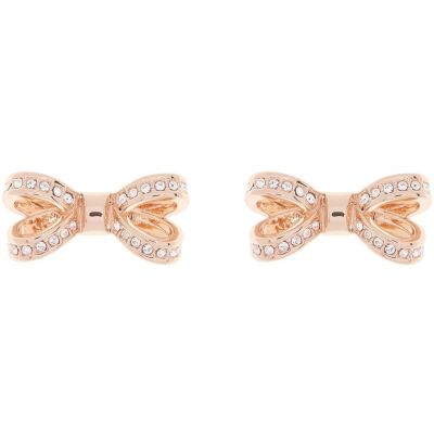 Ladies Ted Baker Rose Gold Plated Olitta Mini Opulent Pave Bow Earring TBJ1563-24-02