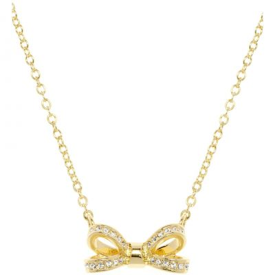 Ladies Ted Baker Gold Plated Olessi Mini Opulent Pave Bow Necklace TBJ1561-02-02