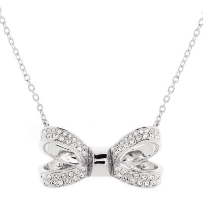 Ladies Ted Baker Silver Plated Olira Opulent Pave Bow Necklace TBJ1560-01-02