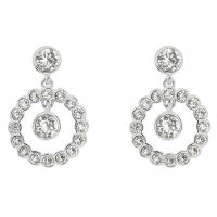 Ladies Ted Baker Silver Plated Corali Concentric Crystal Earring TBJ1333-01-02