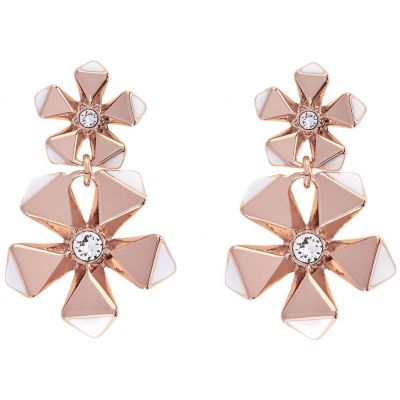 Ladies Karen Millen Rose Gold Plated Geo Flower Earring KMJ1079-24-108