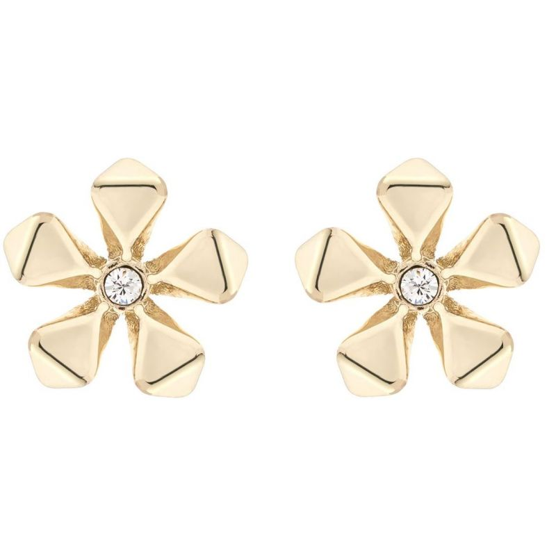 Ladies Karen Millen Gold Plated Petite Geo Flower Stud Earring KMJ1102-30-02