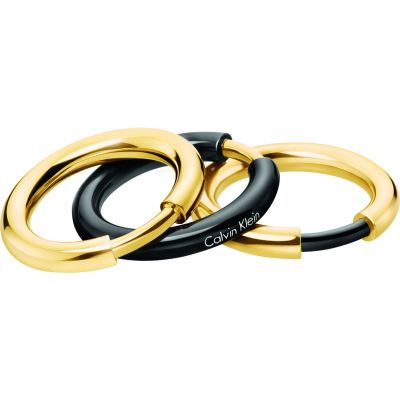 Gioielli da Donna Calvin Klein Jewellery & Gold Plated Disclose Ring Set Size P KJ5FBR200108