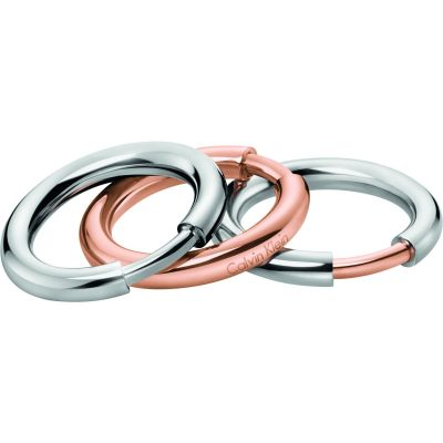 Calvin Klein Dames Disclose Ring Set Size N.5 Tweetonig staal en verguld Rose KJ5FMR200107