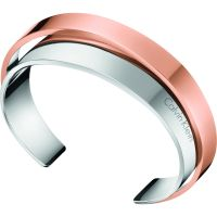 Ladies Calvin Klein Two-Tone Steel and Rose Plate Small Unite Bangle KJ5ZPF20010S