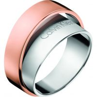 Ladies Calvin Klein Two-Tone Steel and Rose Plate Size L Unite Ring Size L.5 KJ5ZPR200106