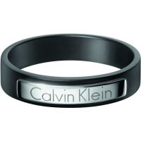 Mens Calvin Klein Black Ion-plated Steel Size X/Y Dapper Ring Size Y KJ7QBR280112