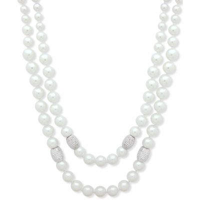 Anne Klein Dam Simulated Pearl 2 Row Necklace Basmetall 60476126-G03