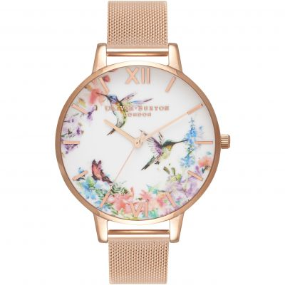Painterly Prints Hummingbird Nude Peach & Rose Gold  Watch