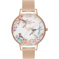 Ladies Olivia Burton Painterly Prints Floral Birds Print Watch OB16PP21