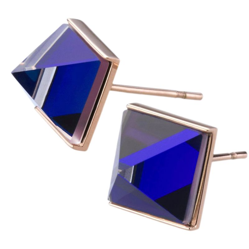 Ladies STORM Rose Gold Plated Gemza Blue Earrings 9980724/B