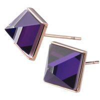 Ladies STORM Rose Gold Plated Gemza Purple Earrings GEMZA-EARRING-RG-PURPLE