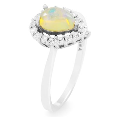 Ladies Gemstone Sterling Silver Ethiopian Opal Cluster Ring Size L G0119R-EO-L