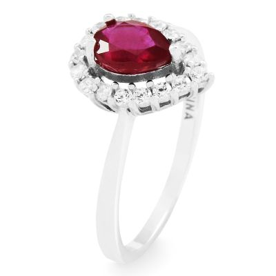 Ladies Gemstone Sterling Silver Ruby Cluster Ring Size P G0119R-RU-P