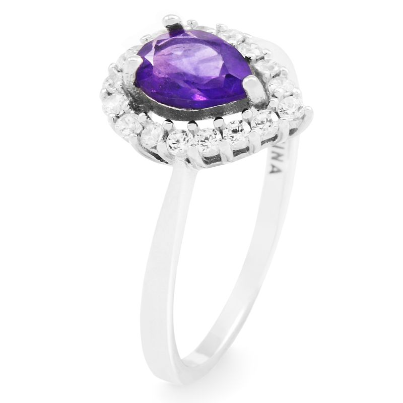 Ladies Gemstone Sterling Silver African Amethyst Cluster Ring Size P G0119R-AA-P