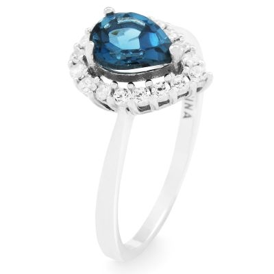 Biżuteria damska Gemstone Jewellery London Blue Topaz Cluster Ring Size P G0119R-BT-P