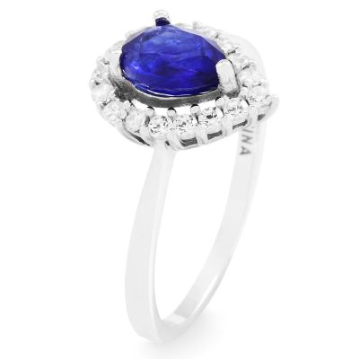 Gemstone Dam Blue Sapphire Cluster Ring Size L Sterlingsilver G0119R-SA-L