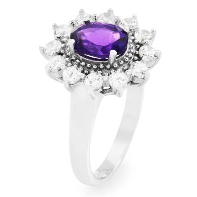 Ladies Gemstone Sterling Silver African Amethyst Cluster Ring Size P G0111R-AA-P