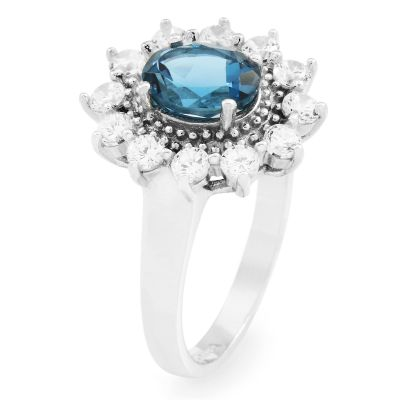 Ladies Gemstone Sterling Silver London Blue Topaz Cluster Ring Size P G0111R-BT-P