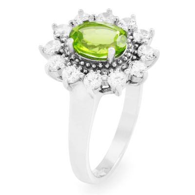 Ladies Gemstone Sterling Silver Peridot Cluster Ring Size L G0111R-PE-L