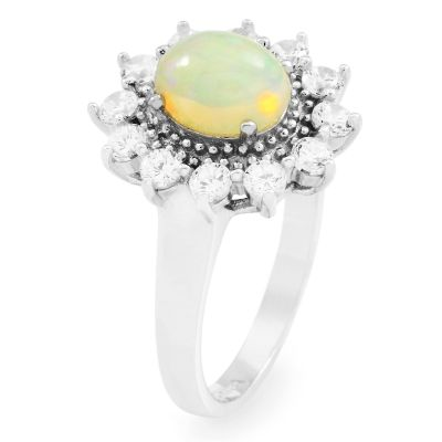 Ladies Gemstone Sterling Silver Ethiopian Opal Cluster Ring Size L G0111R-EO-L