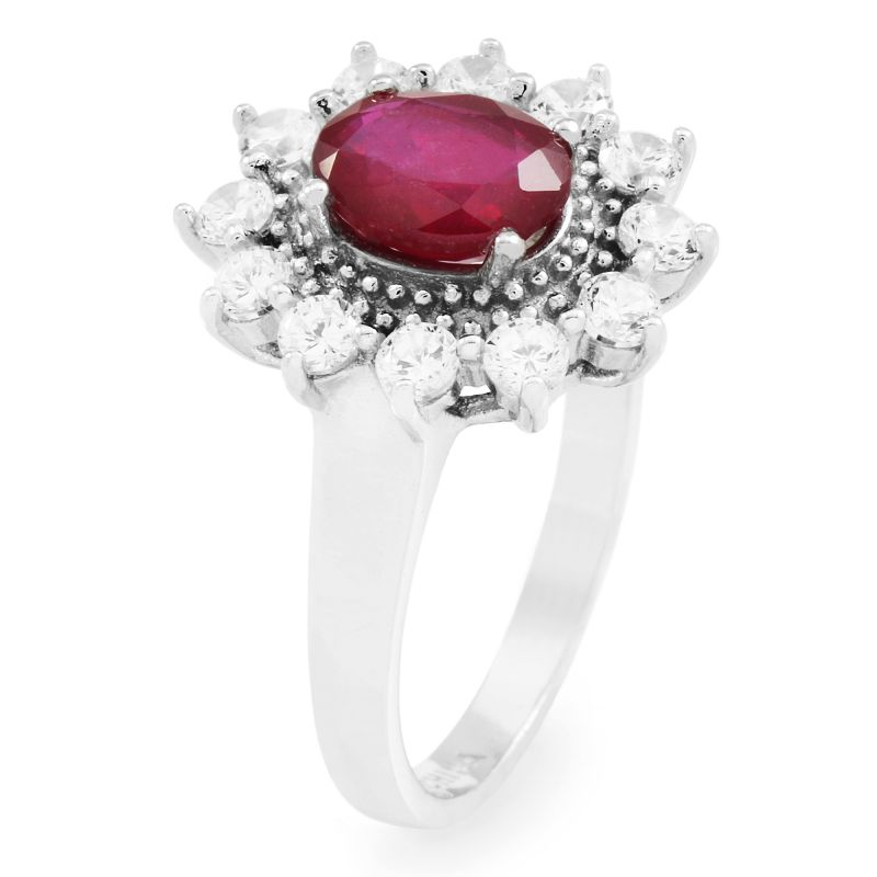 Ladies Gemstone Sterling Silver Ruby Cluster Ring Size P G0111R-RU-P