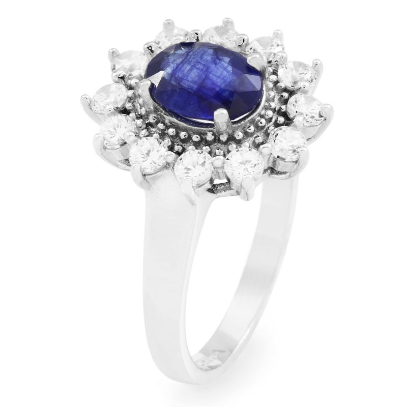 Ladies Gemstone Sterling Silver Blue Sapphire Cluster Ring Size N G0111R-SA-N