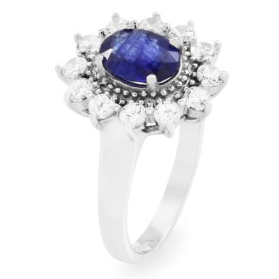 Gemstone Dam Blue Sapphire Cluster Ring Size P Sterlingsilver G0111R-SA-P