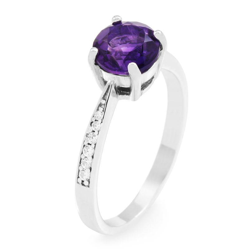 Ladies Gemstone Sterling Silver African Amethyst Ring Size N G0091R-AA-N