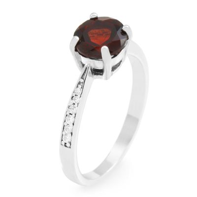 Ladies Gemstone Sterling Silver Garnet Ring Size P G0091R-GA-P