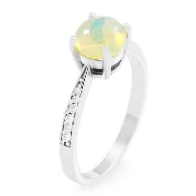 Ladies Gemstone Sterling Silver Ethiopian Opal Ring Size P G0091R-EO-P