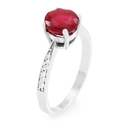 Gemstone Dam Ruby Ring Size N Sterlingsilver G0091R-RU-N
